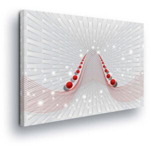 GLIX Tablou - Abstract 3D White Track and Red Elements 2 x 40x60 / 2 x 30x80 / 1 x 30x100 cm