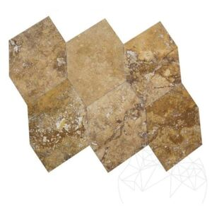 Travertin Yellow Hexagon Periat si Daltuit 46 x 46 x 1.2 cm - Lichidare stoc