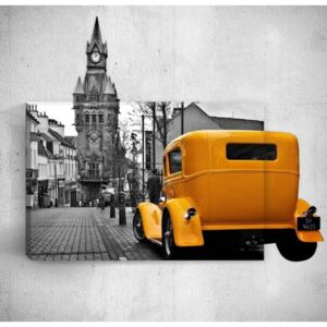 Tablou de perete 3D Mosticx Yellow Retro Car In City, 40 x 60 cm