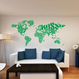 GLIX World map - autocolant de perete Verde deschis 200 x 100 cm