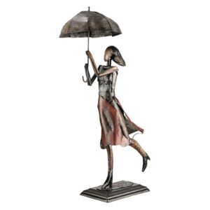 Figurina lucrata manual, PARASOL WOMAN, metal, 70x22x34 cm