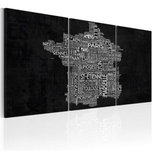 Tablou Bimago - From Montpelier to St-Etienne (black-and-white) 60x30