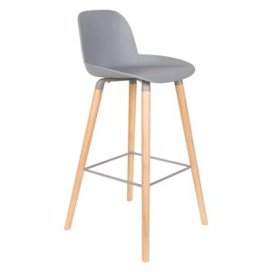 Scaun de bar gri (H-99cm) din plastic Albert Kuip Light Grey Barstool