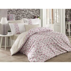Lenjerie pat 1 persoană bumbac 100% poplin, Hobby Home, Luisa White