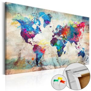 Bimago Tablou din plută - World Map: Colourful Madness 90x60 cm