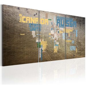 Tablou Bimago - Map of the World - industrial style 60x30
