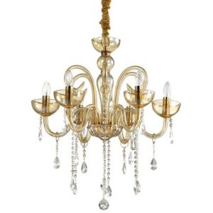 Candelabru 6xE14 ambra-transparent Canaletto Ideal Lux 114521
