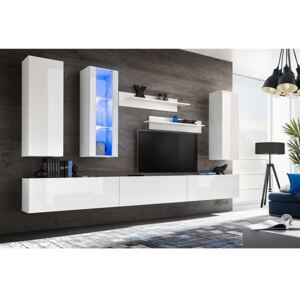 Mobilier sufragerie spațiu TV 8 piese lumini LED Alb lucios