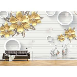 Tapet Premium Canvas - Abstract flori aurii si lebede