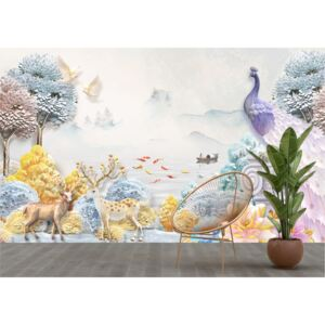 Tapet Premium Canvas - Animale in padure abstract