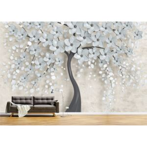 Tapet Premium Canvas - Abstract copac cu flori albe