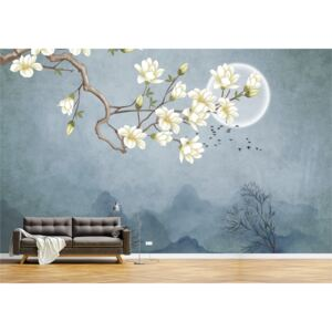 Tapet Premium Canvas - Abstract luna si pasarile