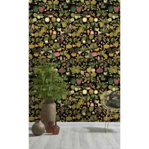 MINDTHEGAP Tapet - Asian Fruits And Flowers Anthracite
