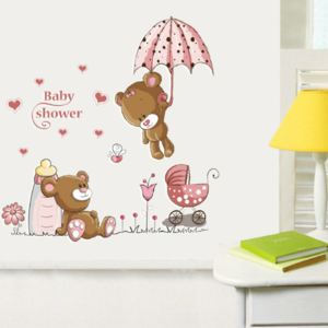 Sticker perete Pink Bear Baby Shower