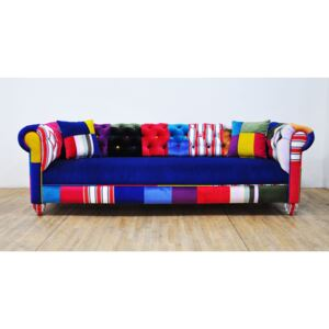 Sofa Chesterfield Patchwork - Blue Sky