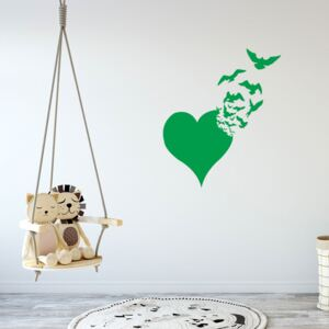 GLIX Heart with birds - autocolant de perete Verde deschis 50 x 60 cm
