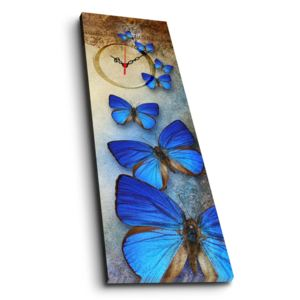 Ceas de perete cu imagine Blue Butterfly, 30 x 90 cm