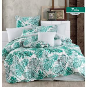 Lenjerie King Size Majoli Home Collection 4 piese bumbac ranforce Palms Green