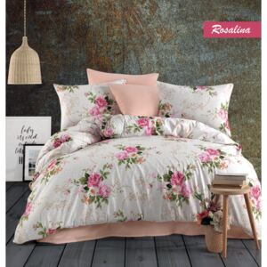 Lenjerie King Size Majoli Home Collection 4 piese bumbac ranforce Rosalin