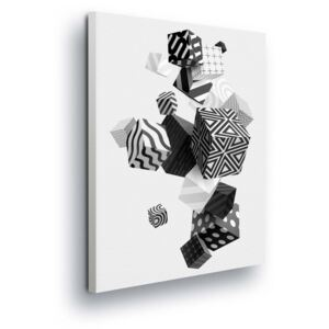 GLIX Tablou - Black and White Abstract Playing Cubes 2 x 40x60 / 2 x 30x80 / 1 x 30x100 cm