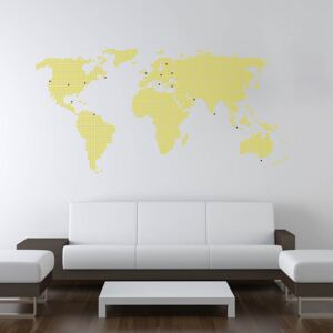 GLIX World map from dots - autocolant de perete Galben 200 x 100 cm