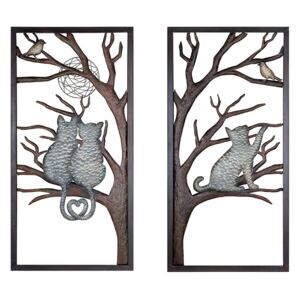 Set 2 decoratiuni de perete TREE OF CATS, metal, 40 x 2 x 80 cm
