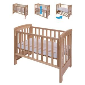 Treppy - Patut co-sleeping 85x48 cm cu laterala culisanta Dreamy Mini Natur + saltea