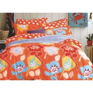 Lenjerie Evolution bumbac satinat ELV277 Orange-Flowers