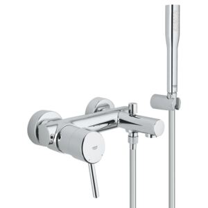 Set cada Grohe Concetto, cartus ceramic, 1/2, limitator debit, diverter, para dus inclusa, protectie reflux, Crom