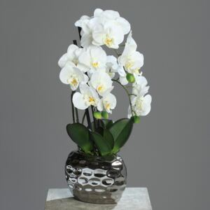 Orhidee artificiala alba in ghiveci ceramic - 50 cm