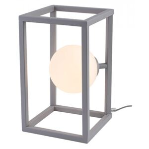 Veioza gri/alba din metal si sticla 33 cm Cube Lamp Grey Aldex