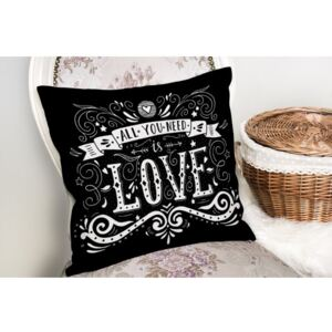 Față de pernă Minimalist Cushion Covers Black Love, 45 x 45 cm