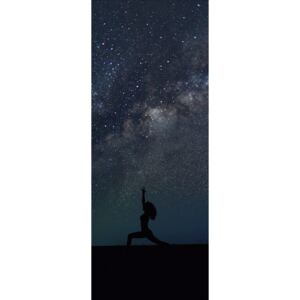 Silhouettes of people training yoga withg the milkyways as background., (19.6 x 50 cm)