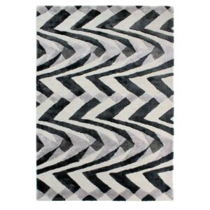 Covor țesut manual Flair Rugs Jazz, 120 x 170 cm, negru - gri