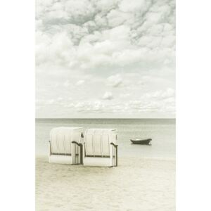 Idyllic Baltic Sea with typical beach chairs | Vintage, (85 x 128 cm)