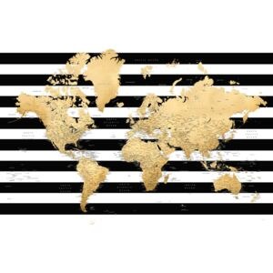Detailed gold world map with stripes, Harper, (128 x 85 cm)