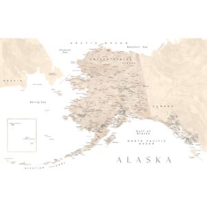 Detailed map of Alaska in neutral watercolor, (128 x 85 cm)