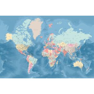 Light blue and pastels detailed world map, (128 x 85 cm)