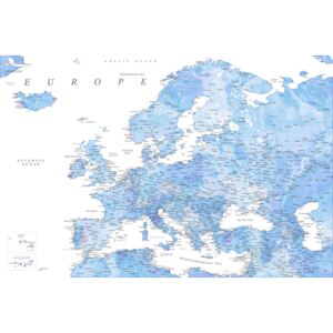 Detailed map of Europe in shades of blue watercolor, (128 x 85 cm)