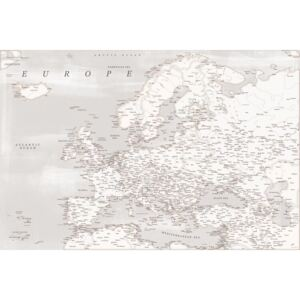 Rustic detailed map of Europe, (128 x 85 cm)
