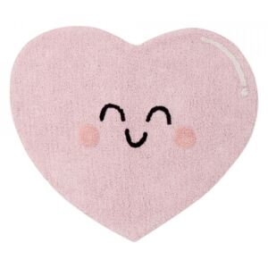Covor roz din bumbac 90x105 cm Happy Heart Lorena Canals