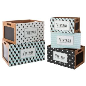 Set de 5 x cutii din MDF/carton, Atmosphere, Multicolor