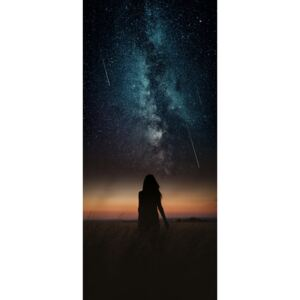 Fotografii artistice Dramatic and fantasy scene with young woman looking universe with falling stars., Javier Pardina