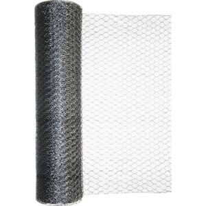 Plasa gard impletita, model hexagonal, zincata, 0,5 x 10 m, argintiu