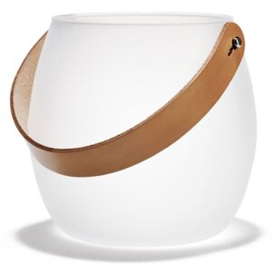 Vase decorative Holmegaard - Design with light glass bowl with leather strap, white, H: 16 cm