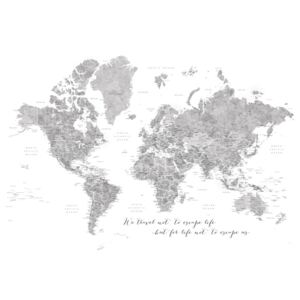 Ilustrare We travel not to escape life, gray world map with cities, Blursbyai