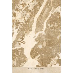 Ilustrare Map of New York City in sepia vintage style, Blursbyai