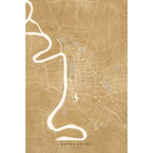 Ilustrare Map of Baton Rouge, LA, in sepia vintage style, Blursbyai