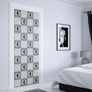 GLIX Tapet netesute pe usă - Vintage Tiles Pattern Black And White