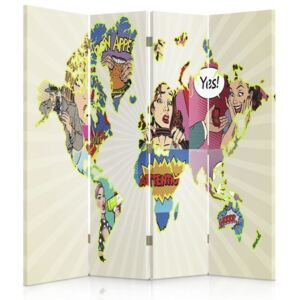 CARO Paravan - Map Of The World Pop Art | cvadripartit | unilateral 145x150 cm